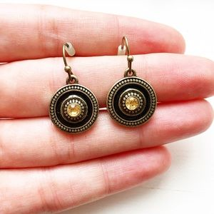 Boho brassy gold, black & amber shield earrings